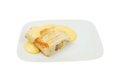 Apple strudel and custard Stock Photos