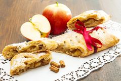 Apple strudel with fresh apple and cinnamon Royalty Free Stock Image