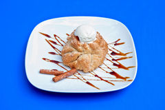 Apple strudel with ice cream Royalty Free Stock Photo