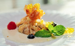 Apple strudel with molecular sweet caviar Stock Image