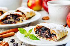 Apple strudel with nuts and raisins Stock Image
