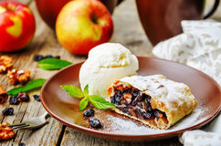 Apple strudel with nuts and raisins Royalty Free Stock Photo