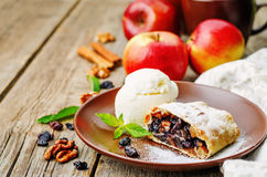 Apple strudel with nuts and raisins Stock Photography