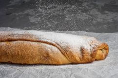 Apple strudel with raisins and almonds. view from above. Royalty Free Stock Photo