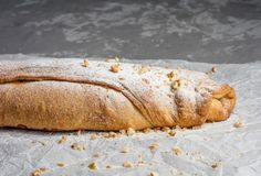Apple strudel with raisins and almonds. view from above. Stock Image
