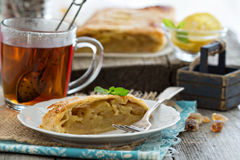 Apple strudel with tea Royalty Free Stock Images