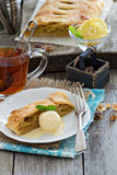 Apple strudel with tea Royalty Free Stock Photo