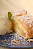 Apple strudel with vanilla ice cream Royalty Free Stock Photo