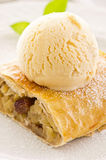 Apple Strudel with Vanilla Ice Cream Stock Image