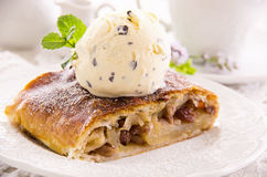 Apple Strudel with Vanilla Ice Cream. As closeup on a white plate Royalty Free Stock Images
