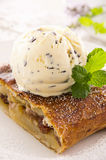 Apple Strudel with Vanilla Ice Cream Royalty Free Stock Photography