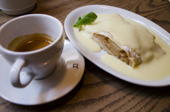 Apple strudel with vanilla ice cream and coffee. ! royalty free stock photography