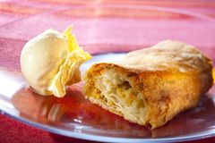 Apple strudel with vanilla icecream Royalty Free Stock Image