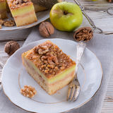 Apple strudel with vanilla pudding and nuts. A apple strudel with vanilla pudding and nuts Royalty Free Stock Image