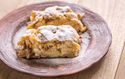 Apple strudel with walnuts Royalty Free Stock Photography