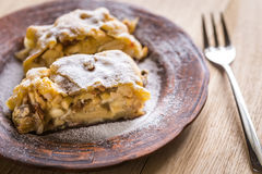 Apple strudel with walnuts Stock Photos