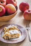 Apple strudel with walnuts Stock Photography