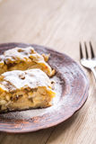 Apple strudel with walnuts Stock Images