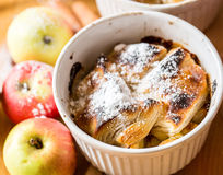 Apple strudel on wooden background Royalty Free Stock Images