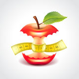Apple stub with measuring tape vector illustration Royalty Free Stock Photography