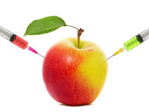 Apple stuck with syringe, Concept of genetic modification of fruits Royalty Free Stock Image