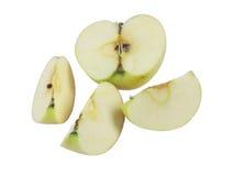 Apple stycken på vit bakgrund Arkivfoto