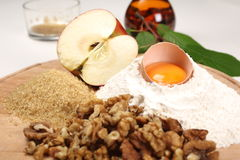 Apple sugar egg and flour. Apple sugar egg nuts and flour as a food ingredients Stock Photos