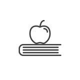 Apple sur le livre rayent l'icône, signe de vecteur d'ensemble, pictogramme linéaire de style d'isolement sur le blanc Images stock