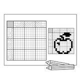 Apple Svartvitt japanskt korsord med svar Nonogram Arkivbilder