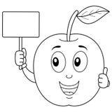 Apple sveglio di coloritura che tiene un'insegna in bianco Immagine Stock