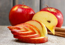 Apple swan. Decoration made of fresh fruit. Stock Photo