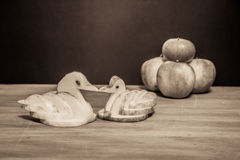Apple swans royalty free stock images