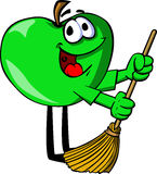 Apple sweeping with broom Royalty Free Stock Photos