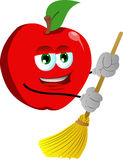 Apple sweeping with broom Royalty Free Stock Images