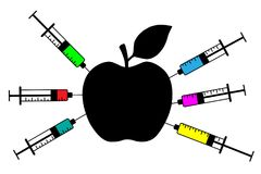 Apple with a syringe. Genetically modified fruit and syringe with colorful chemical. GMO food. Vector silhouette Royalty Free Stock Photo