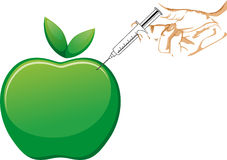 APPLE AND SYRINGE IN HAND Royalty Free Stock Image