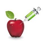 Apple and syringe isolated on white Stock Photos