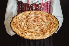 Apple syrligt ligga på traditionell ukrainsk sjalett Arkivbilder