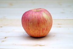 Apple on the Table Wood. One red Apple on the Table Wood Stock Image