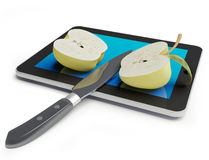 Apple  & Tablet PC. Sliced and apple with a knife on a Tablet PC (3d concept Stock Image