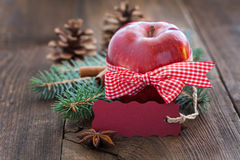 Apple with tag Royalty Free Stock Image