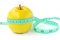 Apple with tape-line Royalty Free Stock Photos