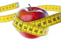 Apple with Tape Measure Royalty Free Stock Photos