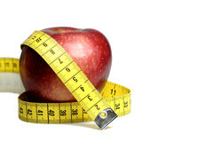 Apple and Tape Measure diet Royalty Free Stock Images