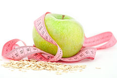Apple and tape measure. diet Royalty Free Stock Images