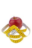 Apple and tape measure for a successful diet Stock Images