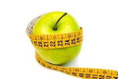 Apple with tape measure Stock Image