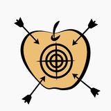 Apple target. Apple with a target and arrows Royalty Free Stock Images