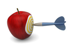 Apple target. 3D model of apple target stabbed by dart Royalty Free Stock Image