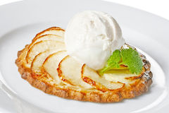 Apple tart. With ice cream Royalty Free Stock Images